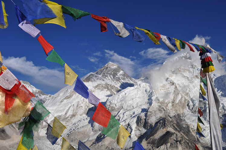 Everest Framed by Prayer Flags
