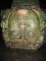 Medusa-head under a column