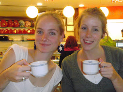 Anneloes and me having tea
