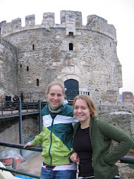 Linn and me in front of the old city wall and tower