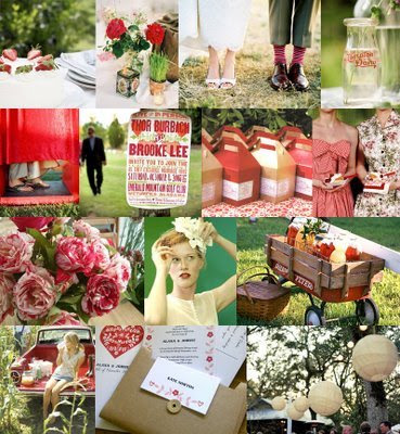 poster invitation via Southern Weddings lunch boxes and strawberry