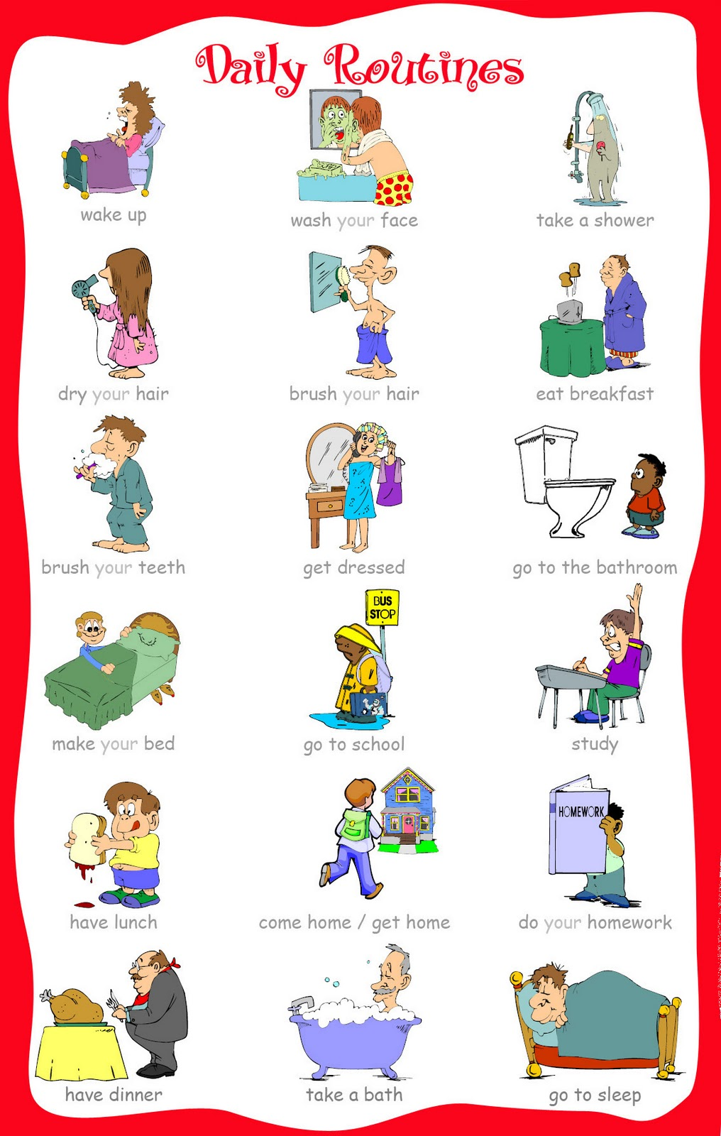 Printable daily routine flash cards for toddlers - Flashcards For ...