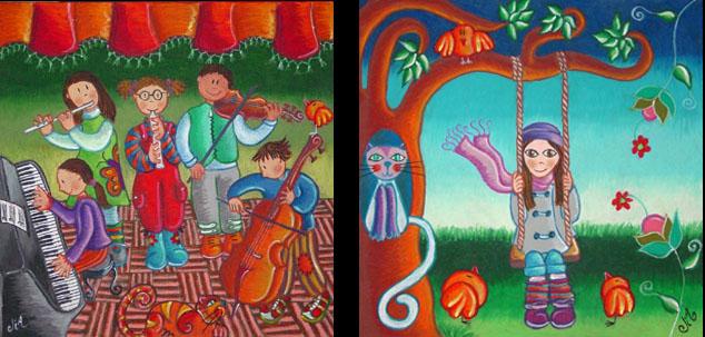 Niños Músicos 2da Versión y Niña en Columpio (ambos 25 x 25 cms.)