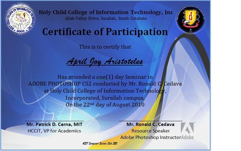 Sample certificate of participation in workshop fieldstation hccit computer society club previews seminar workshop yelopaper Images