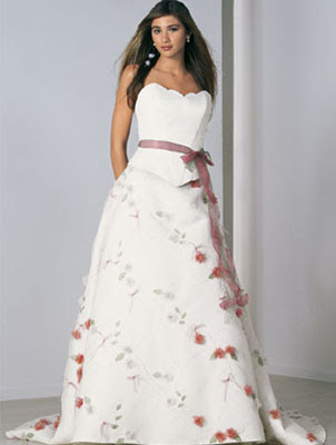 Ornaments flowers and belt in the wedding gown