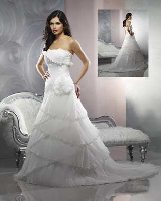 Organza and satin for wedding gown