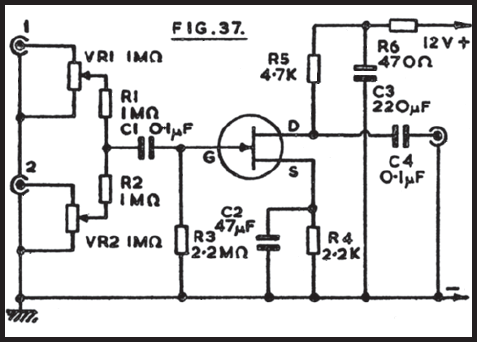 2 channel audio mixer circuit