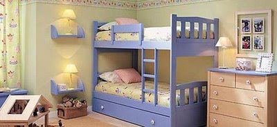 A nice and comfortable bedrooms for kids with suitable furniture.