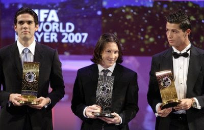 Cristiano Ronaldo, Kaka Leite and Lionel Messi Golden Ball Award