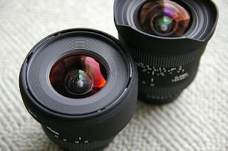 Due obiettivi fotografici neri
