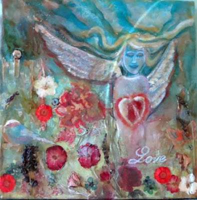 Mixed Media En Caustic Painting of an Angel