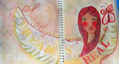 Art Journal Pages Spread Your Wings and Fly Completed