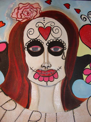 Day of the Dead painting close up of the face