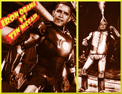 IRON OBAMA vs TIN MCCAIN Cool As Steel vs Blowing Off Steam copyright 2008 Cosanostradamus blog me no blogs