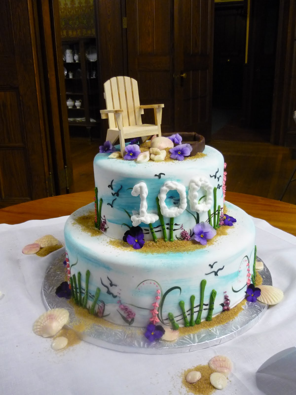 Asked To Create A Special Birthday Cake For Martha Who Was Turning 100 Here Is Her Handpainted Seashore Complete With Adirondack Chair And Skiff