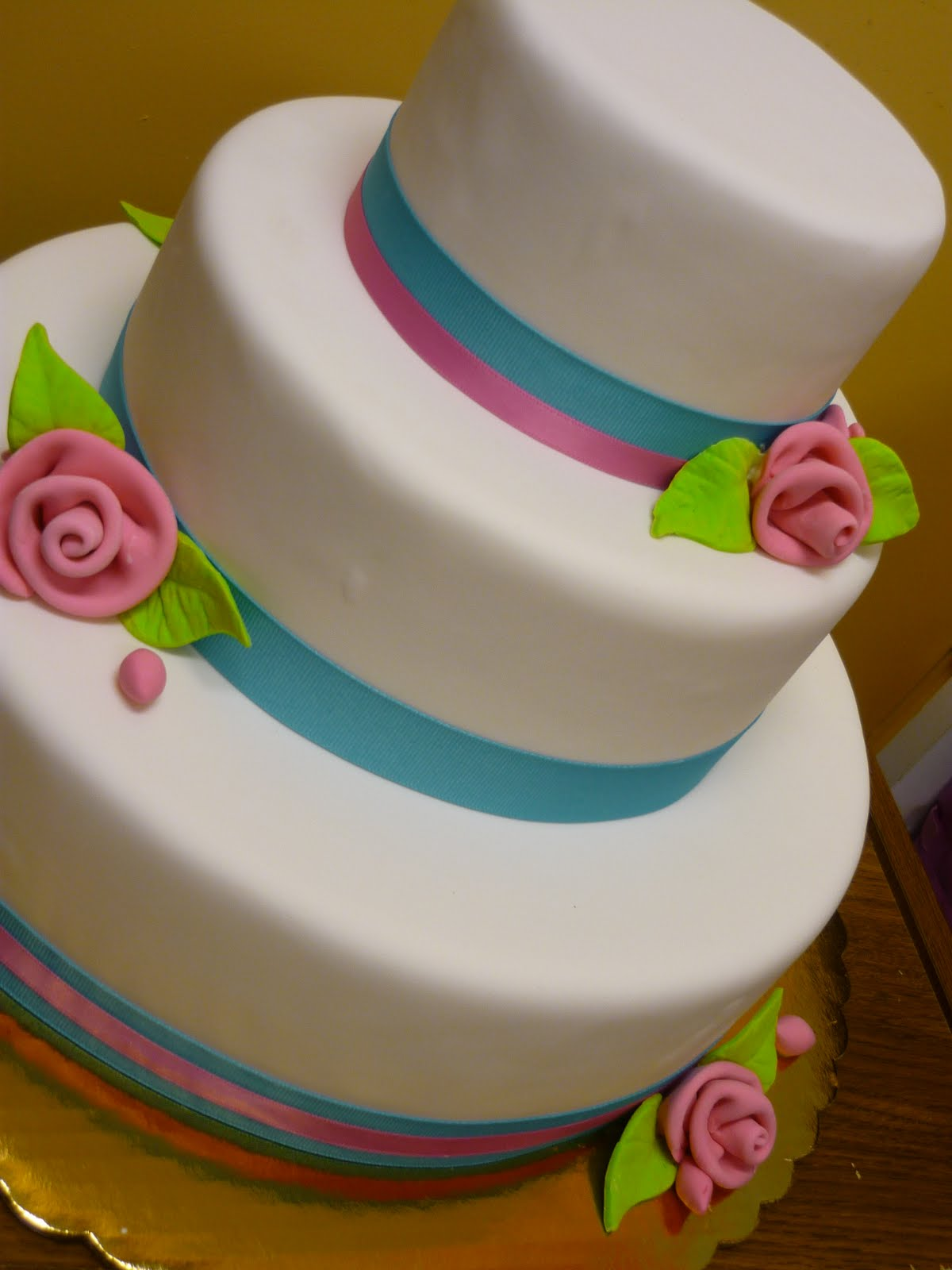 Cake With Fondant Ribbon : Artisan Bake Shop: Simple, Modern Teal and Pink Wedding ...