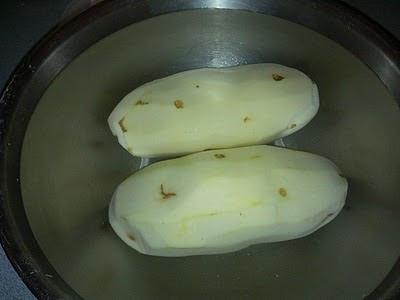 Potatoes await their fate