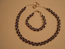 Conjunto, colar/pulseira, pérolas de 4mm com fio prateado