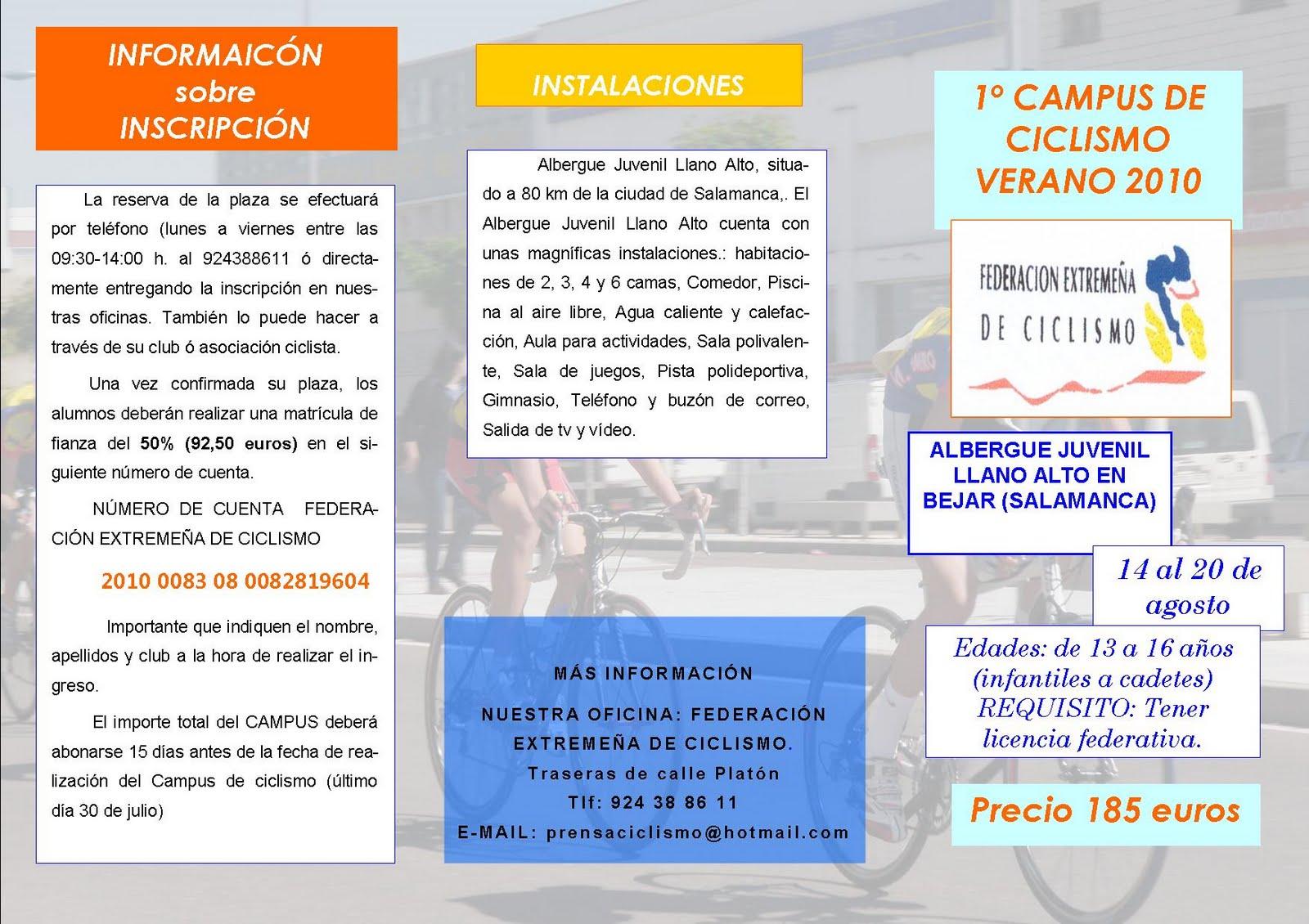 Federación Extremeña de Ciclismo: 1º CAMPUS DE CICLISMO ... - photo#44