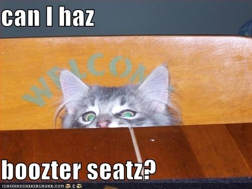 can I haz boozter seatz?