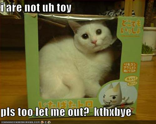 i are not uh toy pls too let me out? kthxbye