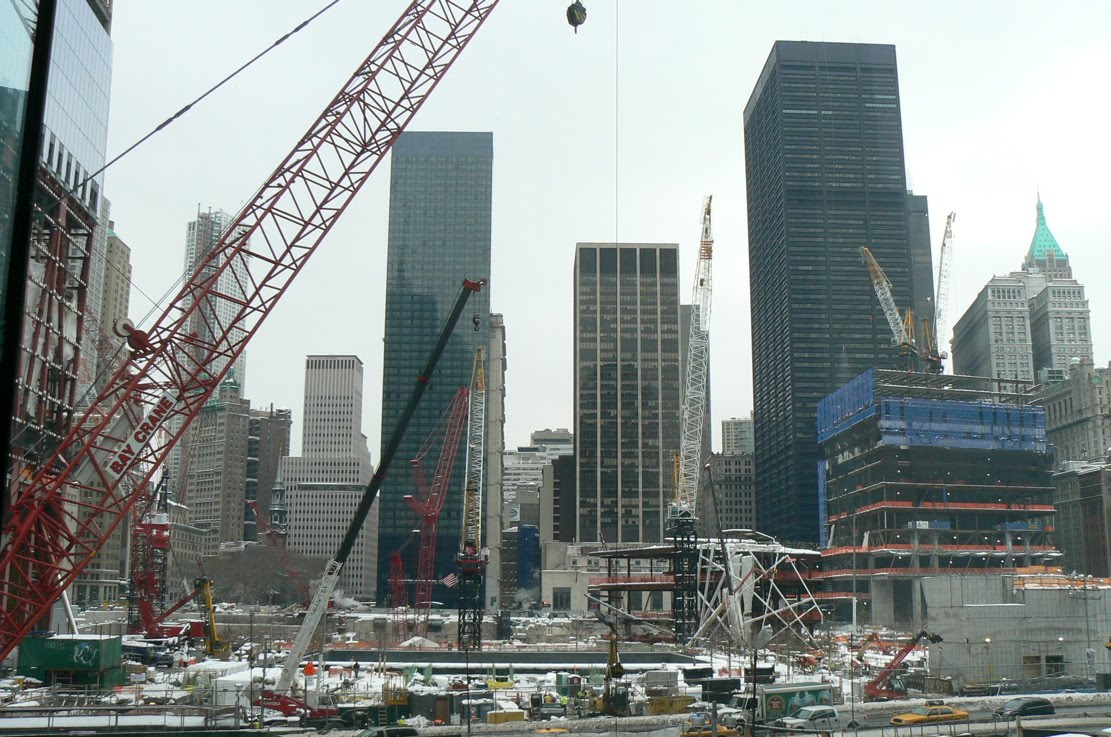 Looking Straight Out At The Pit From The Winter Garden, Edge Of WTC 1 Is At  Far Left. You Can See The Gray Footprint Of The Old North Tower, Which Will  Be ...