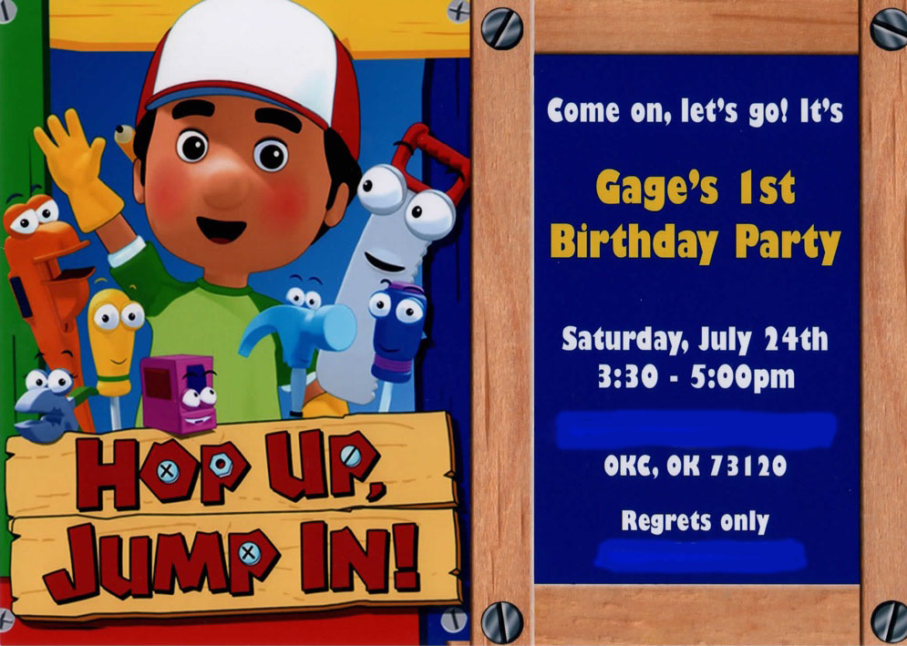 The Laws of My Life A Handy Manny 1st Birthday – Handy Manny Party Invitations