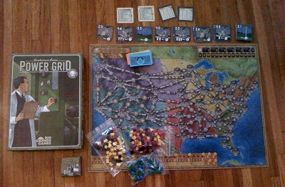 Power Grid board game setup to play