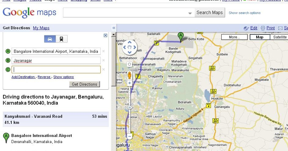 Bangalore or Bengaluru Google Transit and Maps BMTC Bus routes