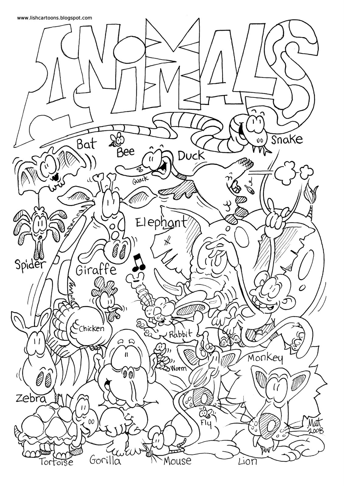 Free Animals Two By Two Coloring Pages