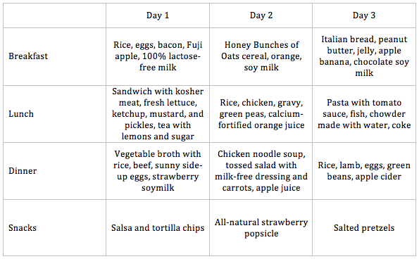Lactose Intolerant Diet 3 Day Meal Plan