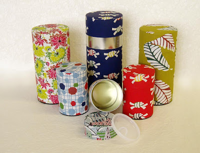 tea canisters with Japanese papers