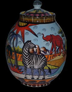 Penzo cookie jar with zebra and other elephant