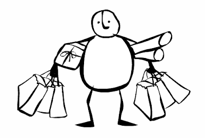 Story of Stuff illustration - person with packages