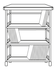 3-shelf unit with LPs