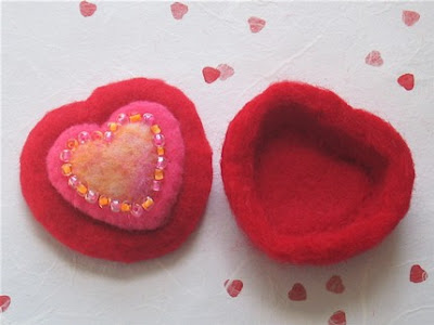 red felted heart-shaped box