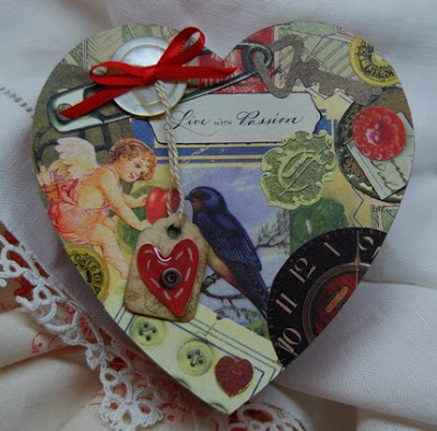 heart-shaped box with many images plus the words Live With Passion