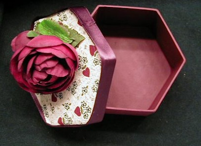 six-sided box with hearts and flowers