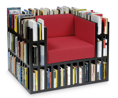 armchair with book storage built inro back, arms, etc.