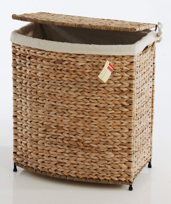 water hyacinth linen basket with metal frame
