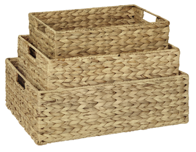 3 rectangular water hyacinth baskets, nested