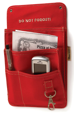 red organizer with pockets, magnetic back