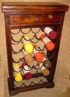 yarn stored in a wine rack
