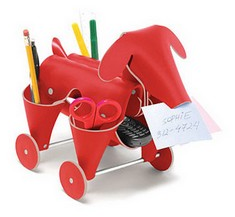 desk organizer in red leather, dog shaped