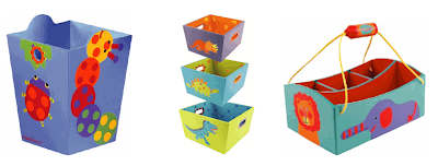 wastebasket, nesting bins, and crayon caddy