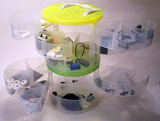 plastic multi-sectioned storage container with LEGO parts