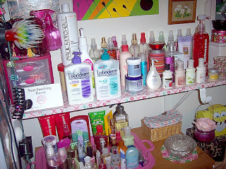 lotions and potions in a closet