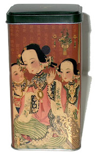 tea tin with Japanese style picture of mother and son