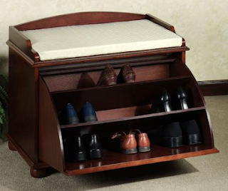 tilt-out shoe storage bench