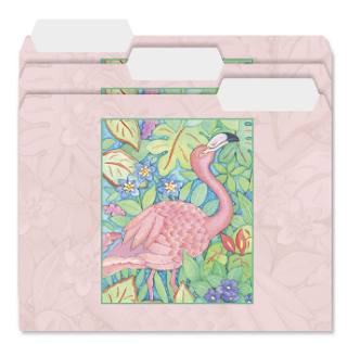 file folders with flamingos